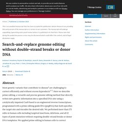 Search-and-replace genome editing without double-strand breaks or donor DNA