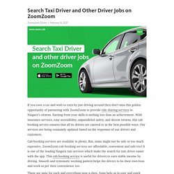 Search Taxi Driver and Other Driver Jobs on ZoomZoom – Telegraph