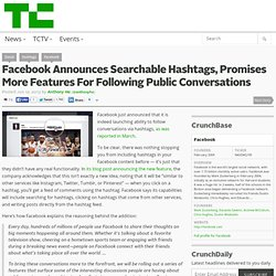 Facebook Announces Searchable Hashtags, Promises More Features For Following Public Conversations