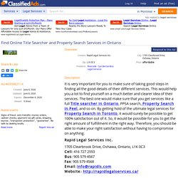 Find Online Title Searcher and Property Search Services in Ontario