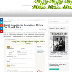 Searching Ancestry databases