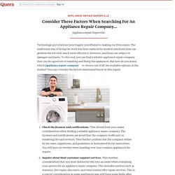 Consider These Factors When Searching For An Appliance Repair Company