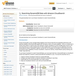 Searching DynamoDB Data with Amazon CloudSearch : Articles & Tutorials