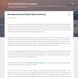 Searching for the best financial advisor made easy