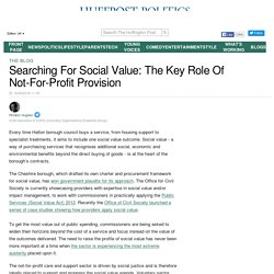 Searching For Social Value: The Key Role Of NFP Provision