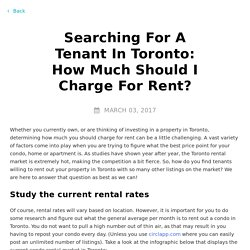 Searching For A Tenant In Toronto: How Much Should I Charge For Rent?