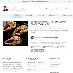 Seared Spiced Salmon Steaks with Black Bean Salsa