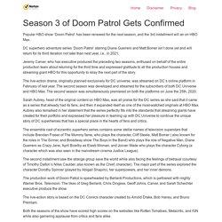 Season 3 of Doom Patrol Gets Confirmed - Norton Setup