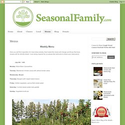 The Seasonal Family, an unrefined blog: Menus