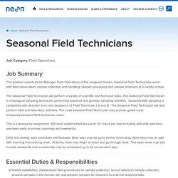 Seasonal Field Technicians