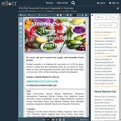 Monthly Seasonal Fruit and Vegetable in Australia