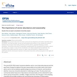 EFSA 12/11/18 The importance of vector abundance and seasonality