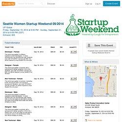 Seattle Women Startup Weekend 09/2014 Tickets, Kirkland