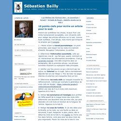Sébastien Bailly: 10 points clefs pour écrire un article pour le web