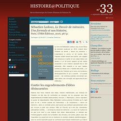 Sébastien Ledoux, Le Devoir de mémoire. Une formule et son histoire,