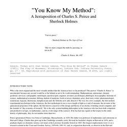 """Sebeok, Thomas with Jean Umiker Sebeok, """"You Know My Method"""""""