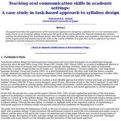 Task-based second language instruction
