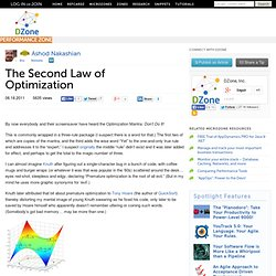 The Second Law of Optimization