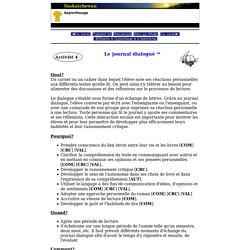 Français - Secondaire - Programmes d'études - Fransaskoises - Le journal dialogué
