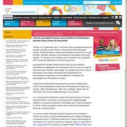 L'École secondaire Jeunes sans frontières de Brampton devient école vitrine de Microsoft