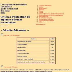 Critères d'obtention du diplôme d'études secondaires - L'enseignement secondaire au Canada : guide de transfert des élèves, 2001