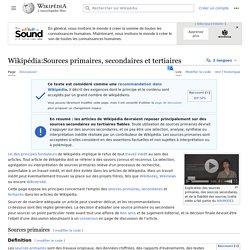 Wikipédia:Sources primaires, secondaires et tertiaires