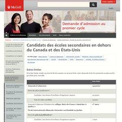 Candidats des écoles secondaires en dehors du Canada et des États-Unis