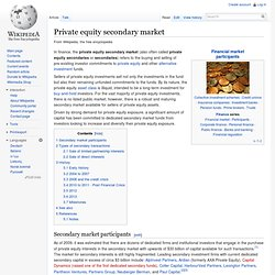 Private equity secondary market - Wiki