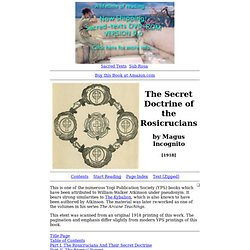 The Secret Doctrine of the Rosicrucians Index