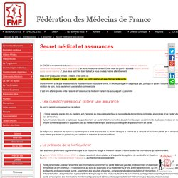 Secret médical et assurances