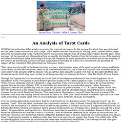 Secret Teachings of All Ages: An Analysis of Tarot Cards