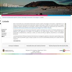 Listado – Secretaría de Educación Superior, Ciencia, Tecnología e Innovación