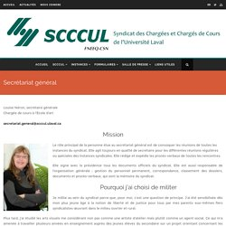 Secrétariat général – Syndicat des chargées et chargés de cours de l'Université Laval