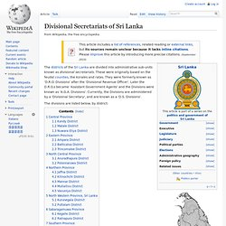 Divisional Secretariats of Sri Lanka