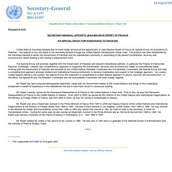 SECRETARY-GENERAL APPOINTS JEAN-MAURICE RIPERT OF FRANCE AS SPECIAL ENVOY FOR ASSISTANCE TO PAKISTAN
