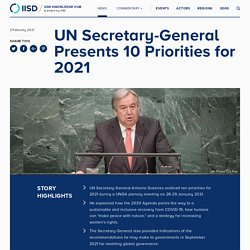 UN Secretary-General Presents 10 Priorities for 2021