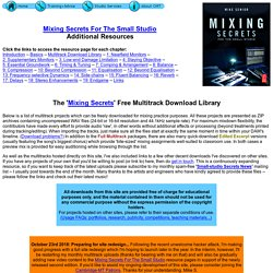 The 'Mixing Secrets' Free Multitrack Download Library (Cambridge Music Technology)