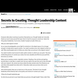 Secrets to Creating Thought Leadership Content
