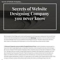 Secrets of Website Designing Company you never know