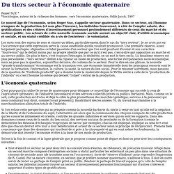 Du tiers secteur à l'économie quaternaire
