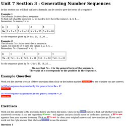 Unit 7 Section 3 : Generating Number Sequences