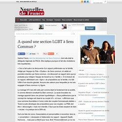 A quand une section LGBT à Sens Commun ? - Nouvelles de France Portail libéral-conservateurNouvelles de France Portail libéral-conservateur