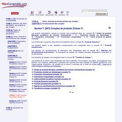 Section 7 [447] Comptes de produits (Classe 7)