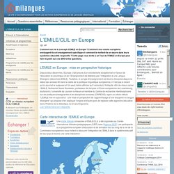 L'EMILE/CLIL en Europe