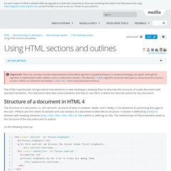 Using HTML sections and outlines - Web developer guides
