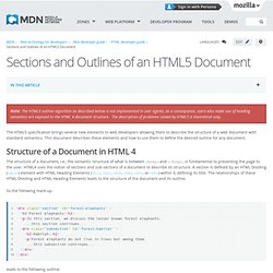 Sections and Outlines of an HTML5 Document - Web developer guide