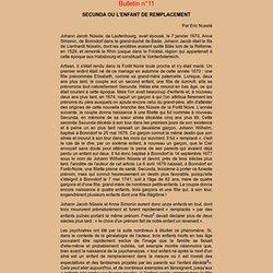 SECUNDA OU L'ENFANT DE REMPLACEMENT (bulletin n° 11)