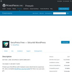 SecuPress Free — Sécurité WordPress – Extension WordPress