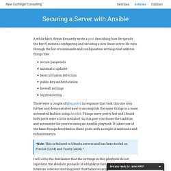 Securing a Server with Ansible · Ryan Eschinger Consulting