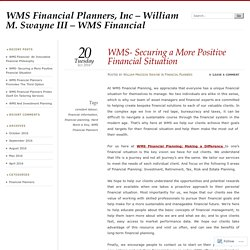 WMS Financial Planners, Inc - William M. Swayne III - WMS Financial